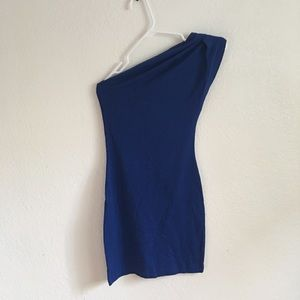Forever 21 Cobalt Blue One Shoulder Bodycon Dress